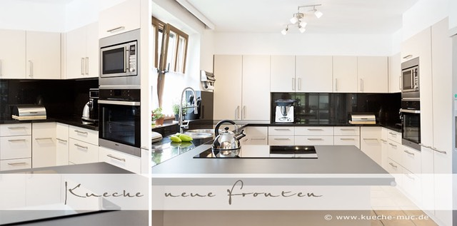 neue fronten f r eine k che mit einer hochwertigen nero assoluto arbeitsplatte. Black Bedroom Furniture Sets. Home Design Ideas
