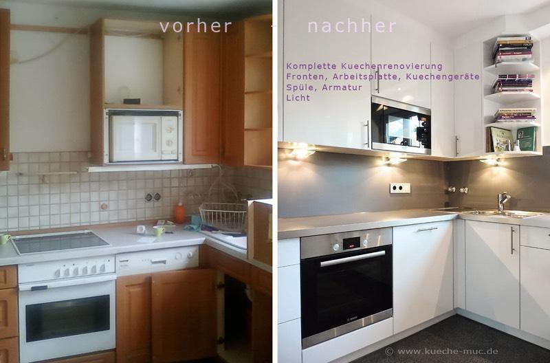 Neue küchenfronten dunkle arbeitsplatte mit alu kante und eine