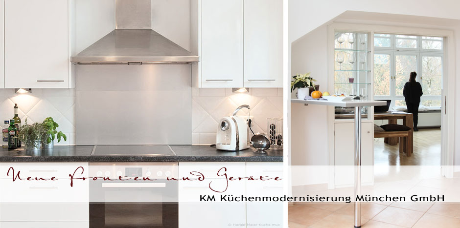 Küchenrenovierung münchen  Fronten Kueche weiss zu dunkler Arbeitplatte Spritzschutz Edelstahl