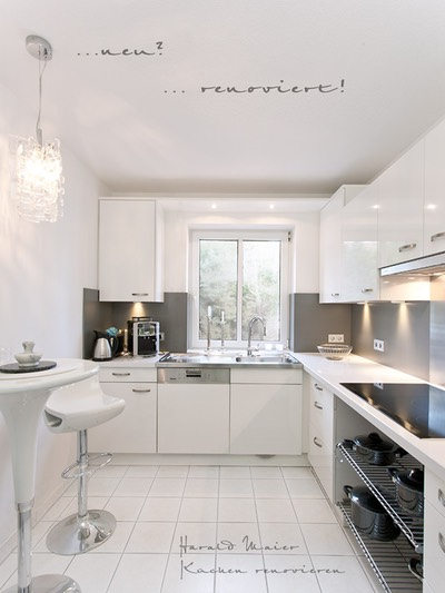 kueche renovieren vorher nachher kueche weiss arbeitsplatte weiss. Black Bedroom Furniture Sets. Home Design Ideas
